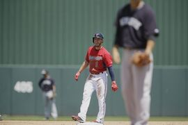 Minnesota Twins' Jordan Schafer laughs after hitting a double in the second inning against New York Yankees' pitcher Masahiro Tanaka a during an exhibition spring training baseball game, Tuesday, March 31, 2015, in Fort Myers, Fla. (AP Photo/Brynn Anderson)
