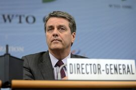 Roberto Azevedo, Director General of the World Trade Organization, WTO, of Brazil, attends the special meeting of the General Council at the headquarters of the World Trade Organization, in Geneva, Switzerland, Thursday, Nov. 27, 2014. (AP Photo/Keystone, Martial Trezzini)
