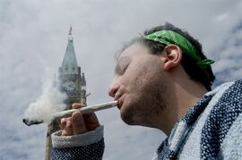 A man smokes a joint at the Fill the Hill marijuana rally on Parliament Hill in Ottawa on Sunday, April 20, 2014. THE CANADIAN PRESS/Justin Tang