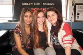 (left to right) Sisler students Simarjeet Gill, Jennifer Pazdor and Stephanie Zabar of the Save Our Minds project.