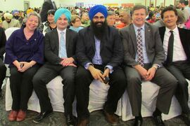 (From left to right) MP for Winnipeg South Centre Joyce Bateman, MP for Winnipeg South Rob Bruinooge, MP for Edmonton-Sherwood Park Tim Uppal, MP for Elmwood-Transcona Lawrence Toet and MLA for St. Paul Ron Schuler attended the Vaisakhi celebration at the newly built Punjab Cultural Centre (1770 King Edward St.) on April 13. More than 1,500 people attended the event to enjoy food and folk dancing.
