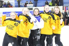 (Left to right) Northwest Winnipeg ringette players Jenissa Kostal, Arianna Yorski, Meghan Cabral, Rebecca Melsted and Emily Sinclair pose for a photo after the gold medal game at the Manitoba Winter Games on March 5 in Morden. Made up of girls from North Winnipeg, Assiniboine Park, St. James and Fort Garry, the Winnipeg Gold U14 ringette team won the gold, beating Interlake 10-4 in the final. Cabral played for Interlake.