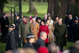 Members of Britain's royal family arrive to attend their traditional Christmas Day church service at St. Mary Magdalene Church in Sandringham, England, Thursday, Dec. 25, 2014. (AP Photo/Matt Dunham)