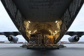 Canadian forces load a CC-17 Globemaster CFB Trenton, Ont., on Sunday Apr. 26, 2015. Canada is dispatching advance elements of its highly specialized disaster assistance response team to earthquake-ravaged Nepal. THE CANADIAN PRSS/Lars Hagberg