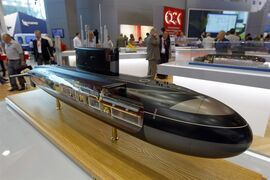 In this July 3, 2013 photo, a model of the so-called project 636 submarine, built by the United Shipbuilding Corp., is on a display in St. Petersburg, Russia. U.S. President Barack Obama has announced new economic sanctions against key sectors of the Russian economy in the latest move by the U.S. to force Russian President Vladimir Putin to end his support for Ukrainian rebels. According to the Treasury Department, the U.S. penalties target the United Shipbuilding Corp., which is based in St. Petersburg, Russia. (AP Photo/Alexander Nikolayev, Interpress)