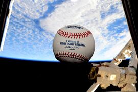 NASA astronaut Terry Virts snapped this photo of an MLB baseball floating in weightlessness on the International Space Station for opening day on April 6, 2015.THE CANADIAN PRESS/HO/ NASA/Terry W. Virts (via Twitter as @AstroTerry)