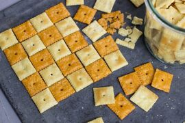 This Oct. 14, 2014, photo shows provolone and original flavor Cheez-It crackers in Concord, N.H. Devotees of the crispy, salty snack are thinking outside the box when using it as an ingredient. (AP Photo/Matthew Mead)