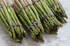This March 2, 2015 photo shows asparagus for fresh and creamy asparagus soup with tarragon in Concord, N.H. (AP Photo/Matthew Mead)