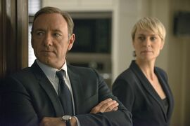 FILE - This image released by Netflix shows Kevin Spacey as Francis Underwood, left, and Robin Wright as Clair Underwood in a scene from