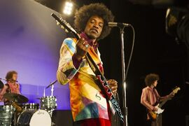 In this image released by XLrator Media, Andre Benjamin portrays Jimi Hendrix in the film