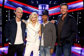 This May 5, 2014 photo released by NBC shows, from left, Adam Levine, Gwen Stefani, Pharrell Williams, Blake Shelton on the set of