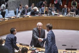 Palestinian U.N. Ambassador Riyad Mansour, center, shakes hands with a representative of France during a meeting of the U.N. Security Council on the worsening situation in Gaza at United Nations headquarters, Monday, July 28, 2014. The U.N. Security Council called for