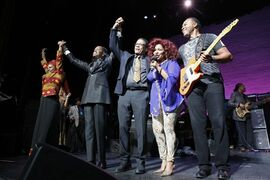 Angelique Kidjo, Vernice White, Herbie Hancock, Chaka Khan, and Ray Parker Jr. take a bow at the 13th annual