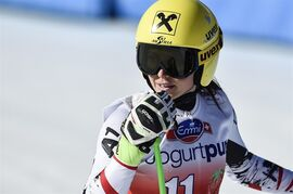 Anna Fenninger of Austria reacts during the women's downhill training session at the alpine skiing World Cup finals in Lenzerheide, Switzerland, Monday, March 10, 2014. (AP Photo/Keystone, Peter Schneider)