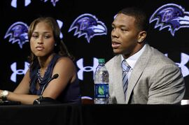 Baltimore Ravens running back Ray Rice speaks alongside his wife, Janay, during a news conference in May.