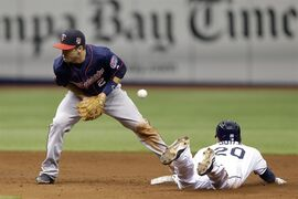 Tampa Bay Rays' Matt Joyce (20) steals second base as the throws skips away from Minnesota Twins second baseman Brian Dozier (2) during the third inning of a baseball game Thursday, April 24, 2014, in St. Petersburg, Fla. (AP Photo/Chris O'Meara)