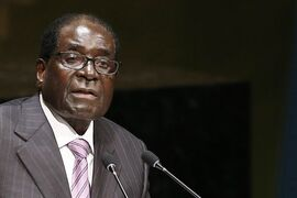 President Robert Mugabe of Zimbabwe addresses the 69th session of the United Nations General Assembly at U.N. headquarters, Thursday, Sept. 25, 2014. (AP Photo/Jason DeCrow)