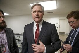 FILE - In this Jan. 26, 2015 file photo, Sen. John Hoeven, R-N.D. talks to reporters on Capitol Hill in Washington. Never mind dropping oil prices. U.S. producers are pushing harder than ever for the right to sell U.S. crude oil overseas. It might seem counterintuitive: Oil prices are as low as they have been at any point since 2009 and the height of the Great Recession. Depending on the projection, prices could drop further still with slowing economies across the world. Oil producers are playing a longer game, betting that long-term demand remains strong and new markets offer lucrative rewards for U.S. producers. (AP Photo/J. Scott Applewhite, File)