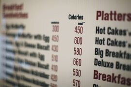 FILE - In this July 18, 2008 file photo, calories of each food item appear on a McDonalds drive-thru menu in New York. The Food and Drug Administration announced long-delayed calorie labeling rules Tuesday, requiring establishments that sell prepared foods and have 20 or more locations to post the calorie content of food