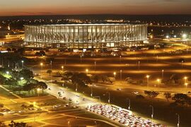 FILE - In this June 9, 2014 file photo, the Mane Garrincha Stadium, also known as the National Stadium, stands in Brasilia, Brazil. Brazil is still trying to find ways to take advantage of some of its new arenas. At this 70,000-capacity stadium, in a city without a big soccer tradition, only 300 fans were on hand this month to watch the U.S. women's national team, ranked No. 1 in the world, play China in an international tournament. (AP Photo/Eraldo Peres, File)