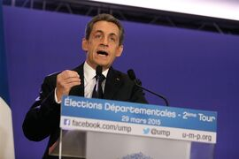Former French President and conservative party UMP leader Nicolas Sarkozy gives a speech following the final round of French local elections, in Paris, France, Sunday, March 29, 2015. French voters are choosing members of local councils in run off elections Sunday seen as a test for the far right National Front, which is expanding its presence in French politics. The mainstream conservative UMP party came out ahead in the first round, ahead of the National Front and the governing Socialists. (AP Photo/Thibault Camus)