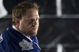 Toronto Maple Leafs Phil Kessel pauses during a photo shoot at training camp in Toronto on Thursday September 18, 2013. THE CANADIAN PRESS/Chris Young