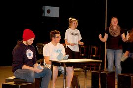 Actors rehearse Miles Macdonell Collegiate's upcoming production, You Can't Take it With You. From left: Mitchell Rear, Simon Meissner, Payton Lyons and Sarah Vandale.