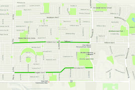 "A map showing some of the litter hotspots in Transcona, according to Take Pride Winnipeg's recent ""litter index."" Highlighted above are Regent Avenue from Day Street to Redonda, and Kildare Avenue from Day Street to Redonda. Not pictured but also highlighted as trash pile-up areas were Lagimodiere Boulevard between Nairn Avenue and Fermor Avenue, Reenders Drive between Regent Avenue and Lagimodiere Boulevard, Grassie Boulevard at Plessis Street."