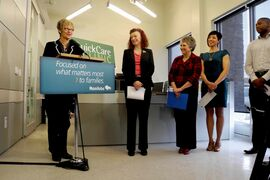 From left to right: Nancy Allan, MLA for St. Vital, Health Minister Sharon Blady Minister, Winnipeg Regional Health Authority vice-president and chief nursing officer Lori Lamont, nurse practitioner Coralie Buhler and community representative Jamie Moses are pictured at the opening of the new QuickCare clinic at 620 Dakota St.
