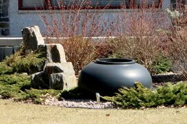 One large pot can add interest to a juniper patch.