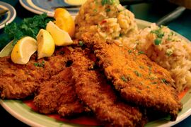 Have an appetite? The chicken schnitzel platter at Bistro Dansk is sure to leave you sated.
