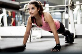 Pushups help to strengthen the upper body and abdominals, and you can do them anywhere.