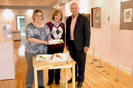 St. Johns MLA Gord Mackintosh at Ogniwo Polish Museum with Dorothy Paryzek, board member and exhibiting artist, and Christine Tabbernor, president.