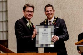 St. Vital Coun. Brian Mayes, left, with Mayor Brian Bowman.