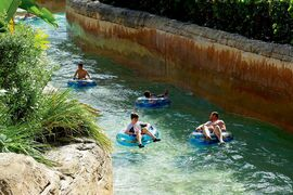 The Lazy River at Aquaventure Waterpark is a meandering stretch that's great to glide through on an inner tube.