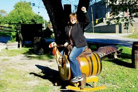 Canstar travel columnist RoseAnna Schick goes on a turkey ride at the Wild Turkey Bourbon distillery.