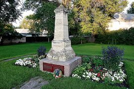 The Seven Oaks Monument at Main Street and Rupertsland Boulevard commemorates the 1816 Battle of Seven Oaks.