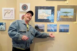 Mike Villeseche is one of the artists who contributed to Come on By, an art show and sale featuring work from people who participate in Oak Table Community Ministry's weekly art program. The show runs at the Gas Station Theatre until Oct. 13.