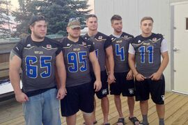 From left to right: the Winnipeg Rifles' Kieran Beveridge, Brett Schultz, Niclas Bembenek, Brooks Falloon and Tyler Vieira. The team held a kickoff event on Aug. 14, during which they revealed their new jerseys and helmets.