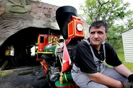 Timothy Buzunis, owner/operator of the miniature steam engine at Assiniboine Park, pictured in a file photo from 2012. The train is celebrating its 50th birthday on July 29. Buzunis is inviting the public to come out and celebrate.