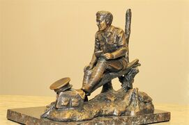 A model of a bronze memorial to Lt. Col. John McCrae, to be installed in Ottawa in May, in shown in this undated handout photo. THE CANADIAN PRESS/HO - Royal Regiment of Canadian Artillery