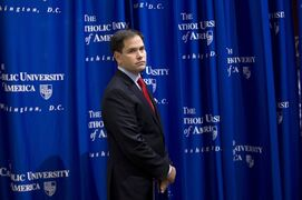 Sen. Marco Rubio, R-Fla., arrives to speak at the Catholic University of America, in Washington, Wednesday, July 23, 2014. Trying to win forgiveness for pushing a failed immigration overhaul, Rubio is rushing to woo social conservatives ahead of a potential 2016 White House run. While Rubio has consistently held conservative positions on abortion and gay marriage, his emphasis now is an effort to find support among social conservatives who have yet to settle on a favored candidate in the presidential campaign that is in its nascent stages. (AP Photo)