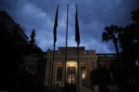 The Maximos Mansion, the Greek Prime Minister's official residence in central Athens, is lit after newly sworn-in Greek Prime Minister Alexis Tsipras arrived, Monday. Radical left leader Tsipras is the youngest man to hold the post in 150 years.