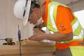 East Kildonan resident Chris Erbus is shown in action at the United Brotherhood of Carpenters and Joiners of America National Apprenticeship Contest in Toronto. Erbus placed first.