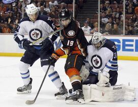 The Ducks Patrick Maroon had three assists in the three games against the Jets this year..