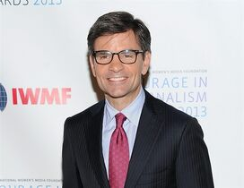 """FILE - In this Oct. 23, 2013 file photo, ABC News' George Stephanopoulos attends the 2013 Courage in Journalism and Lifetime Achievement Awards in New York. Stephanopoulos has landed the first television interview with Ferguson police officer Darren Wilson, speaking to him for an hour Wednesday, Nov. 26, 2014, in Missouri. Wilson sat down with Stephanopoulos, the """"Good Morning America"""" co-host, less than 24 hours after a grand jury decided not to indict the 28-year-old officer in the shooting death of Michael Brown this summer. (Photo by Evan Agostini/Invision/AP, File)"""