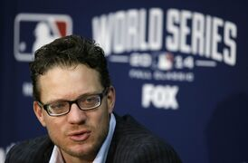 San Francisco Giants pitcher Jake Peavy speaks during a news conference, Monday, Oct. 27, 2014, in Kansas City. The Giants are scheduled to play the Kansas City Royals in Game 6 of the baseball World Series in Kansas City on Tuesday. (AP Photo/Charlie Neibergall)