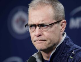 Winnipeg Jets head coach Paul Maurice listens to a question at media conference Monday.