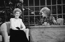 FILE - In this Oct. 30, 1986 file photo, talk show host Joan Rivers, right, talks with guest, first lady Nancy Reagan, during her appearance on