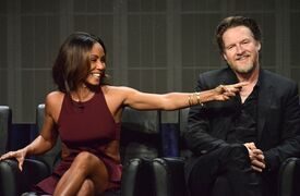 Jada Pinkett Smith, left, and Donal Logue speak on stage during the